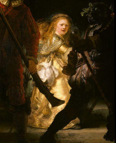 Rembrandt van Rijn. De Nachtwacht (detail) van 1000 Schilderijen
