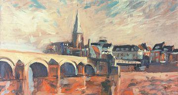 Wyck met de Sint Servaasbrug na het optrekken van de mist van Nop Briex
