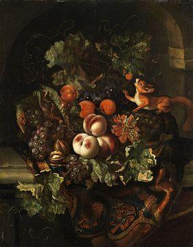 Ernst Stuven, Stilleben mit Obst und Eichhörnchen
