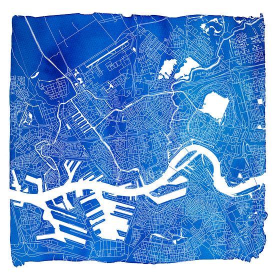 Rotterdam in Kaart - Blauw Aquarel Vierkant - witte kader