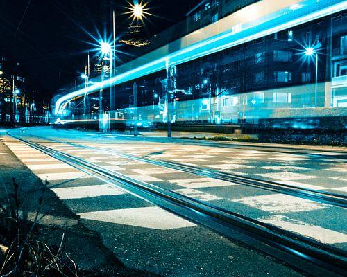 Tram bij nacht - Antwerpen van