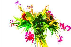 Des fleurs dans un vase. La photo a été modifiée.