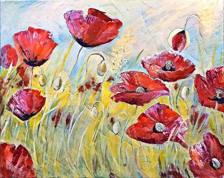 klaprozen! het is zomer! ( dancing poppies) van Els Fonteine
