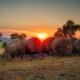 zonsondergang in Toscane van eric van der eijk