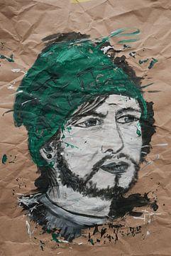 moderne Porträtkunst Mann mit grüner Mütze von jolanda verduin