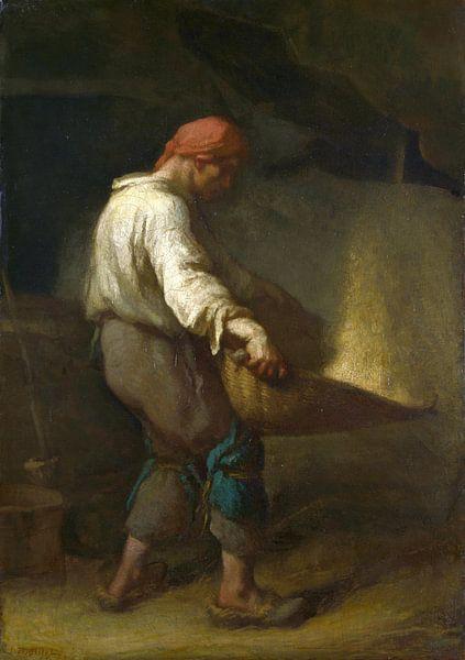 Un Vanneur (Trennen der Spreu vom Korn), Jean-François Millet von Meesterlijcke Meesters