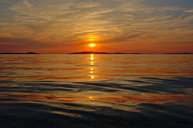 Coucher de soleil sur la mer Adriatique sur Kristof Lauwers