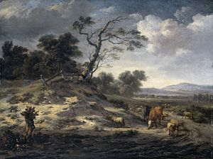 Landscape with Cattle on a Country Road, Jan Wijnants