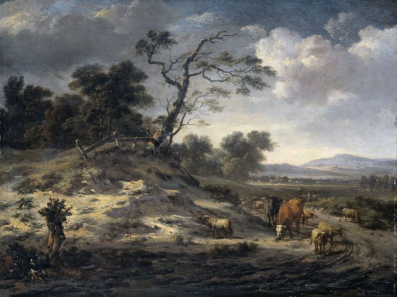 Landscape with Cattle on a Country Road, Jan Wijnants von Meesterlijcke Meesters