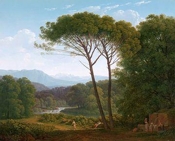 Italiaans landschap met pijnbomen, Hendrik Voogd