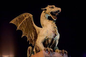 Dragon sur le pont du dragon dans le centre de la Lubliana, Slovénie, dans l'obscurité sur Joost Adriaanse