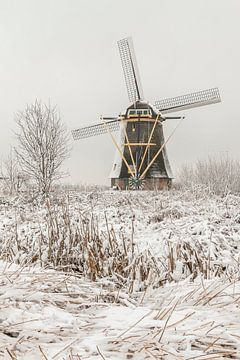 Sneeuwlandschap molens werelderfgoed Kinderdijk  van Mark den Boer