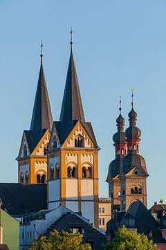 Florinskirche et Liebfrauenkirche à la lumière du soir, Koblenz, Rhénanie-Palatinat, Allemagne