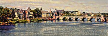 Impressionistisch werk van de Sint Servaasbrug - Slimme Kunst van Maastricht van Slimme Kunst.nl