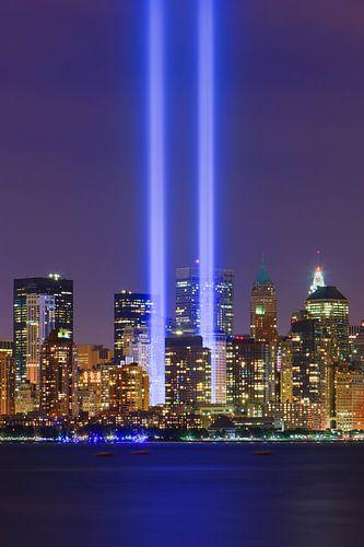 Tribute in Light tijdens 9/11 in New York City