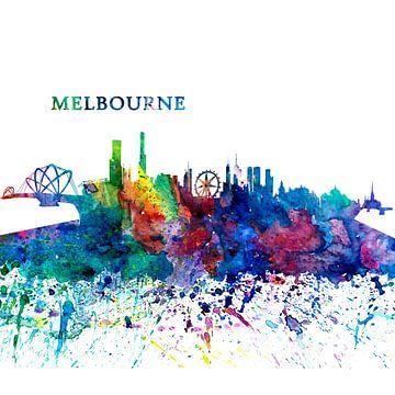 Melbourne Australië Skyline Silhouette Impressionistische Splash van Markus Bleichner