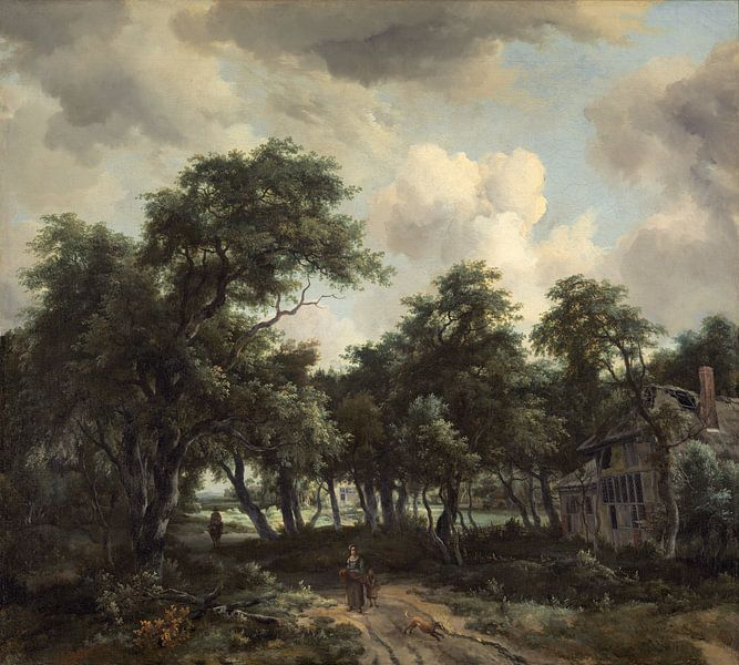 Hütte zwischen Bäumen, Meindert Hobbema von Meesterlijcke Meesters