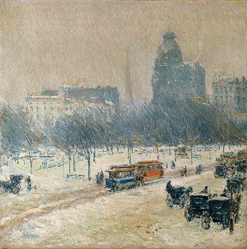 Childe Hassam, Winter in Union Square, 1889 van Atelier Liesjes