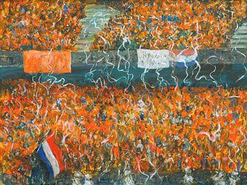Sportliche orangefarbene Legion auf der Tribüne bei Fussbällen von Paul Nieuwendijk
