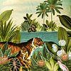 Jungle met tijger en tropische planten van Studio POPPY thumbnail