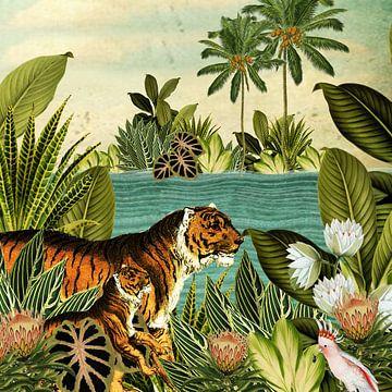 Jungle met tijger en tropische planten van Studio POPPY
