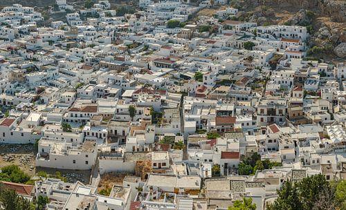 Enchevêtrement de maisons en cube blanc, Lindos, Rhodes, Grèce