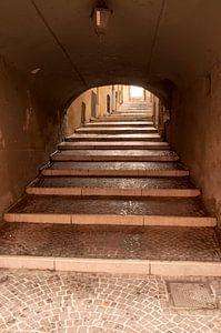 Oude steile steeg, Salo, Italië van