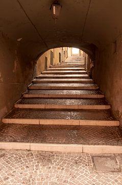 Oude steile steeg, Salo, Italië van Frans van der Gaag