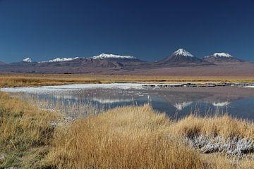 Spiegelung von Andengipfeln in einem Salzwassersee bei San Pedro de Atacama in Chile von A. Hendriks