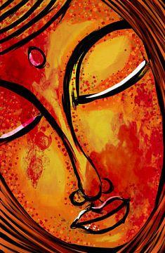 Buddha gezicht omlijnt van Jolanda Janzen-Dekker