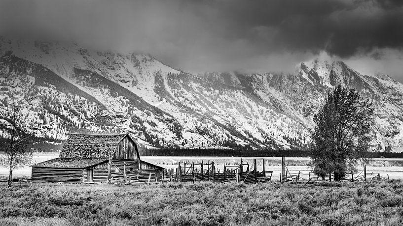 Mormon Row in Schwarz-Weiß, Wyoming von Henk Meijer Photography