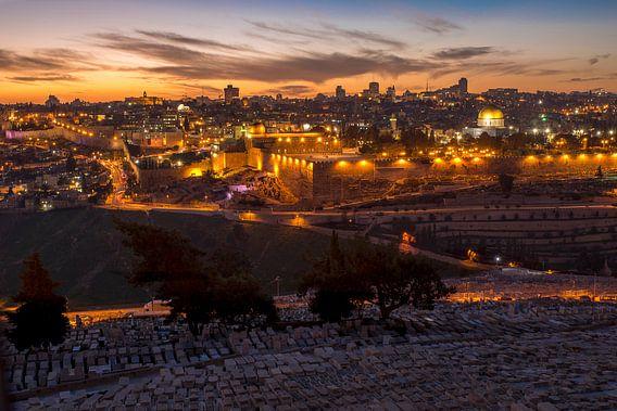 Jeruzalem skyline bij zonsondergang