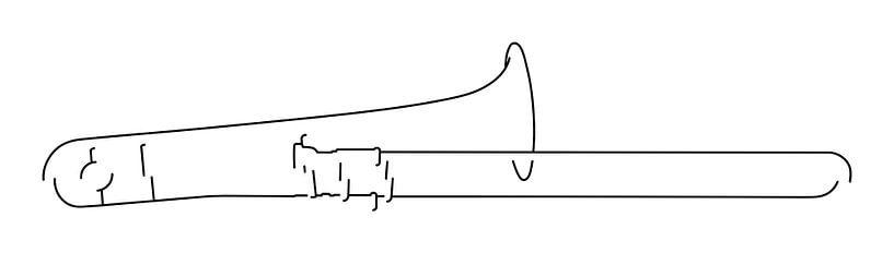 Trombone Silhouet van Drawn by Johan
