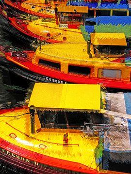 Rondvaartboten in Hamburg van Leopold Brix