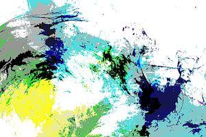 Modernes, abstraktes digitales Aquarellkunstwerk in Grün Blau Schwarz von Art By Dominic