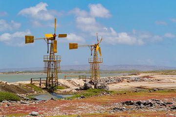 Deux moulins à vent jaunes pour la production de sel sur l'île de Bonaire sur Ben Schonewille