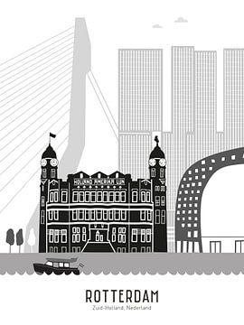 Skyline-Illustration Stadt Rotterdam schwarz-weiß-grau von Mevrouw Emmer