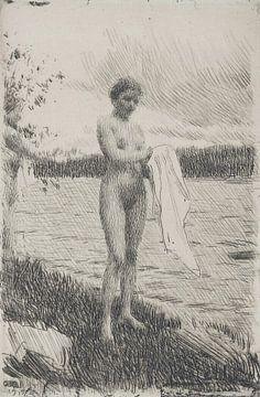 Nackte Frau, Talfluss, Anders Zorn, 1919 von Atelier Liesjes
