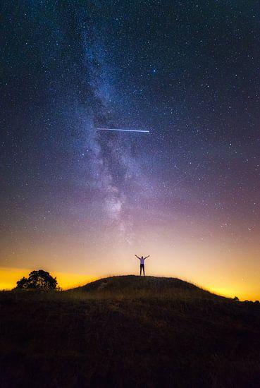 plaat die Viral is gegaan over de hele wereld. Wat zie je: de melkweg met het ISS wat overvliegt, in een portret! En dat op de Veluwe in Nederland