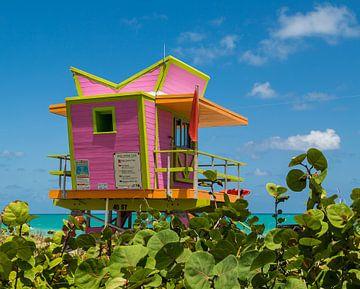 Pink Beach Rettungsturm am Strand von Miami von Peter Leenen