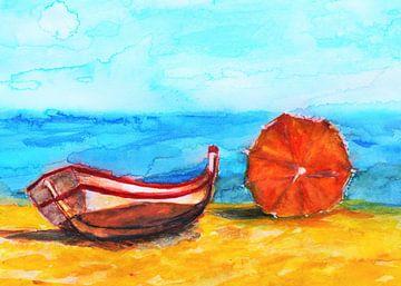 Sommernachmittag am Strand in Portugal. von Ineke de Rijk