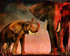 Olifant die de andere olifanten waarschuwt