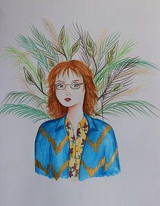 Porträt einer rothaarigen Frau mit Blättern
