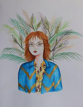 Portret van roodharige vrouw met bladeren van Iris Kelly Kuntkes