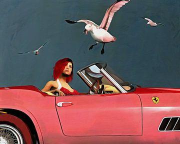 Ferrari 250GT Spyder California mit rot gekleideten Mädchen und Möwen von Jan Keteleer