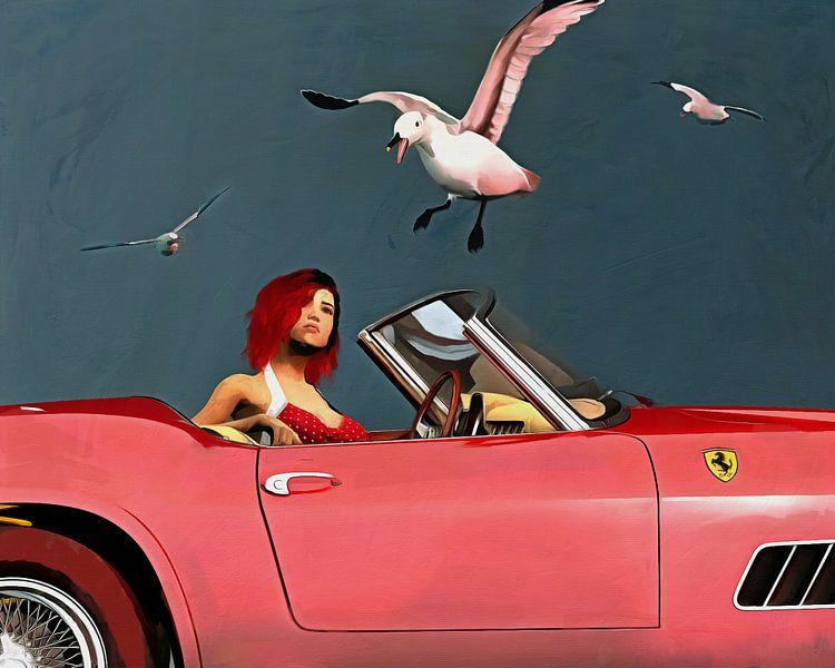 Ferrari 250GT Spyder Californië met rood geklede meid en meeuwen van Jan Keteleer