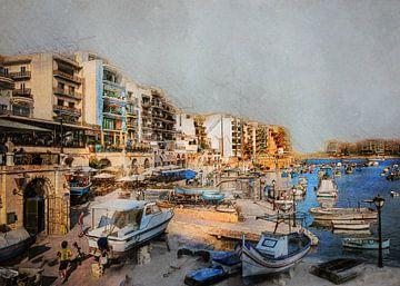Malta stadsgezicht #Malta van JBJart Justyna Jaszke