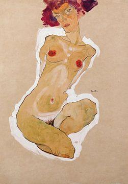 Egon Schiele. Buecken weiblicher nackt