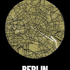 Berlin – City Map Design Stadtplan Karte (Grunge) von ViaMapia