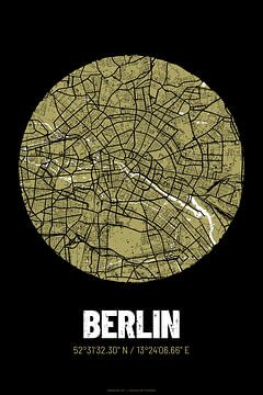 Berlin – City Map Design Stadtplan Karte (Grunge) von